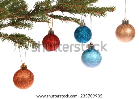 Christmas tree outfit with a decorative color ball. White background. Holiday mood.  - stock photo