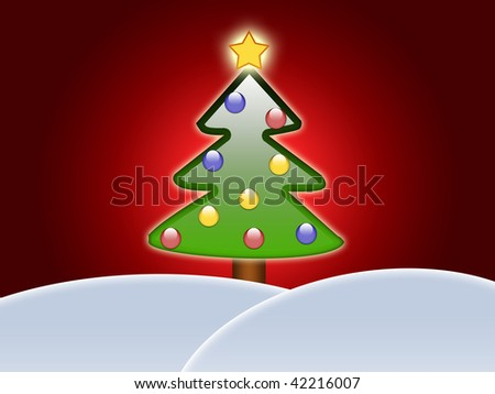 Christmas tree over hills covered with snow. Red background. Illustration - stock photo