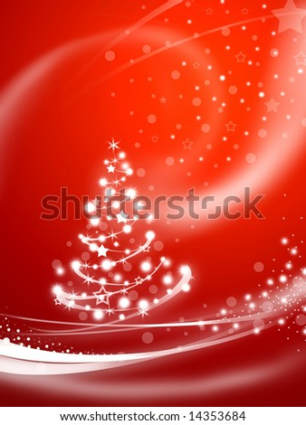 Christmas tree over red background - stock photo
