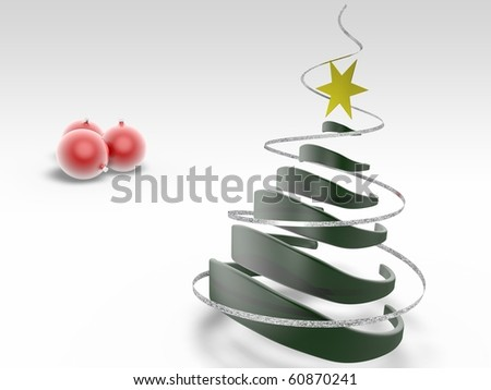 Christmas tree over white - stock photo