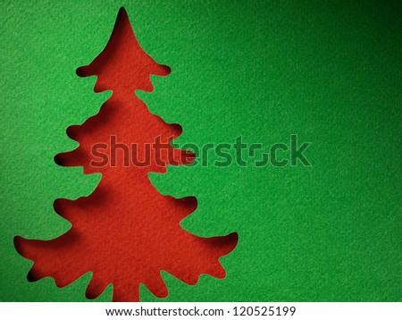 Christmas tree paper cutting design papercraft card. - stock photo