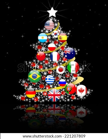 Christmas tree , peace in the world - stock photo