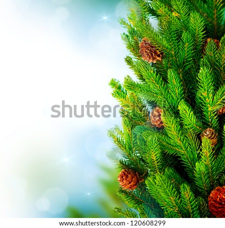 Christmas Tree. Pine tree or Fir Tree with Cones Closeup.Art Border Design - stock photo