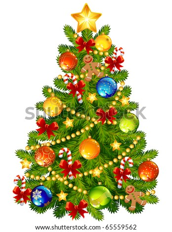 Christmas tree - raster version - stock photo