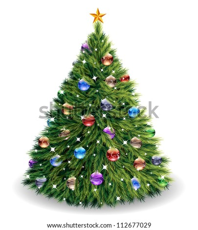 Christmas tree. Raster version, vector file id: 112056947 - stock photo