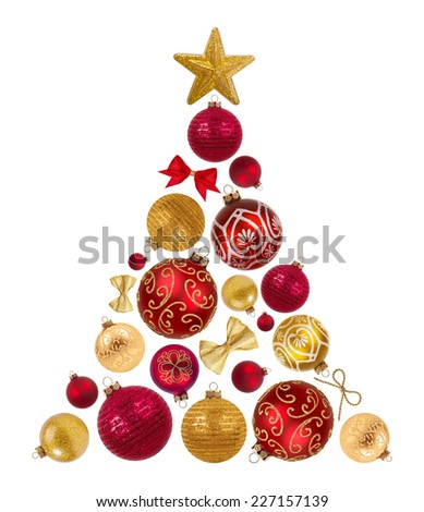 Christmas tree shape from decorative balls, bows and star on white - stock photo