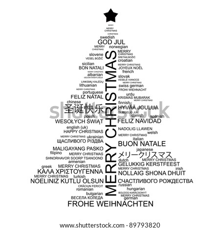 Christmas tree shape from letters - typographic composition - Merry Christmas in different languages - RASTER version
