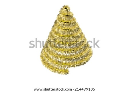 Christmas tree shape in tinsel on white background