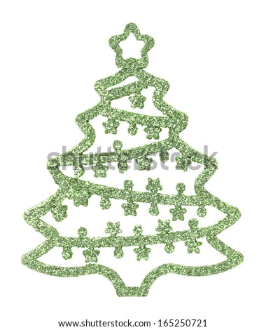 Christmas tree silhouette with decorations in green, isolated on white background. - stock photo