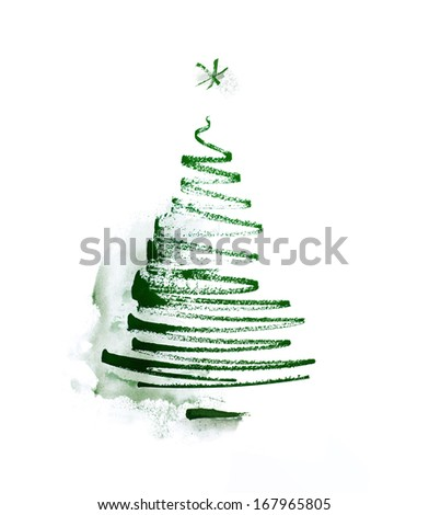 christmas tree, stylized, simplified, reduced to a few freehand lines, watercolor - stock photo