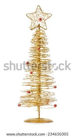 Christmas tree toy on white background background - stock photo
