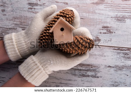 Christmas tree toys like pine cones  and birdhouse  in hands  dressing in white  mittens on wooden table top view with copy place - stock photo