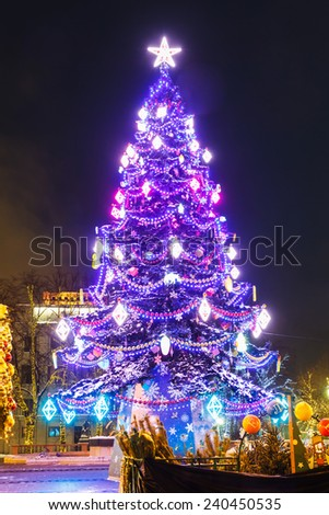 Christmas tree with balls on the background architecture of Moscow. Tverskaya Square - stock photo