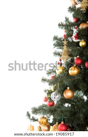 christmas tree with balls. over white background - stock photo