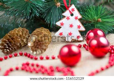 Christmas tree with baubles and cake