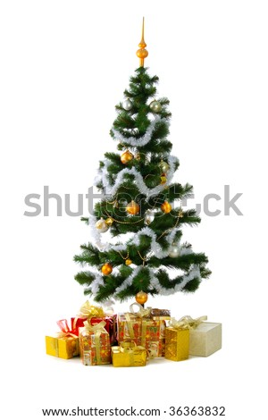 Christmas tree with baubles, spheres  and gifts. Isolated on white