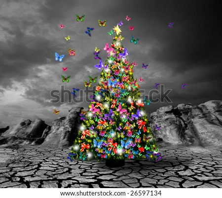 Christmas tree with butterflies on dried and cracked soil - stock photo