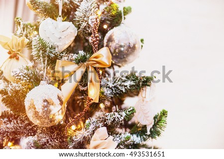 Christmas tree with Christmas decorations in a home interior