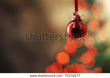 Christmas tree with christmas ornament. - stock photo