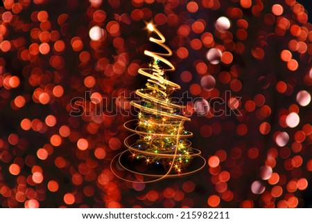 christmas tree with color lights in the dark night