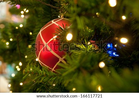 Christmas tree with colorful balls - stock photo