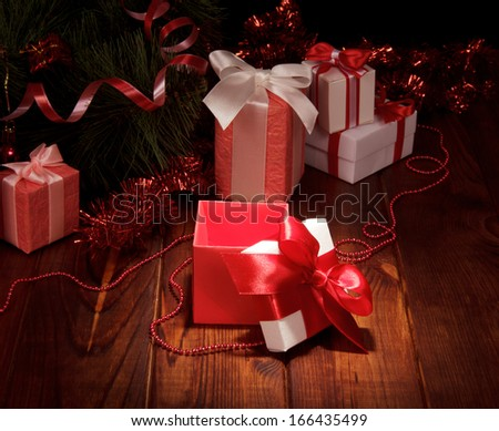 Christmas tree with colorful gifts - stock photo