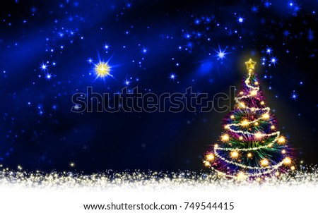 Christmas tree with colorful lights isolated on star sky.