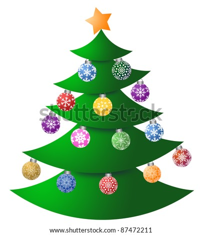 Christmas Tree with Colorful Ornaments and Tree Topper Illustration - stock photo