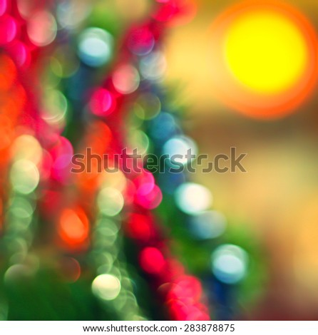 Christmas Tree with Colorful Out of Focus Blurred Light - stock photo
