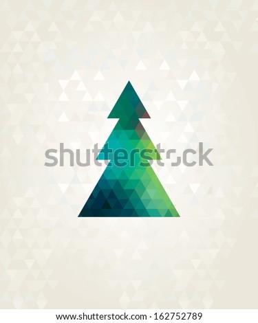 christmas tree with colorful triangle diamonds - stock photo