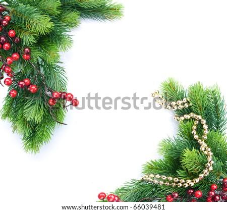 Christmas Tree with Decoration.Border design - stock photo