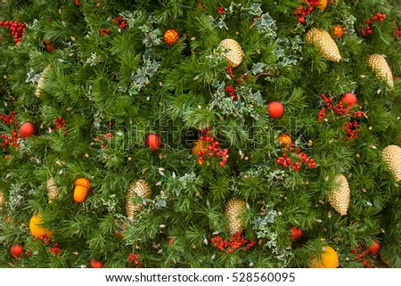Christmas tree with decorations background. Also available in vertical format.