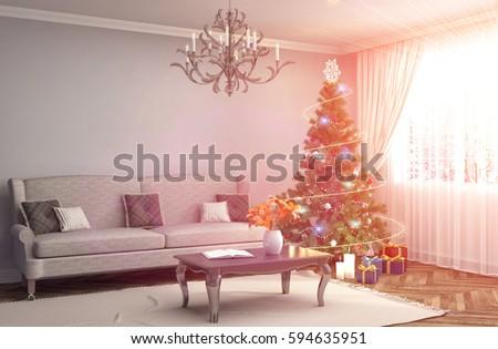 Christmas Tree Decorations Living Room 3d Stock Illustration ...