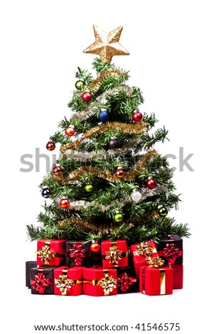 Christmas Tree with decorations on white background