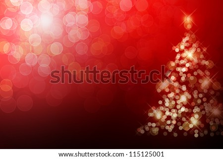 Christmas tree with defocused lights. Red background - stock photo