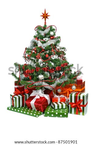 Christmas tree with festive gift boxes  isolated on white background - stock photo