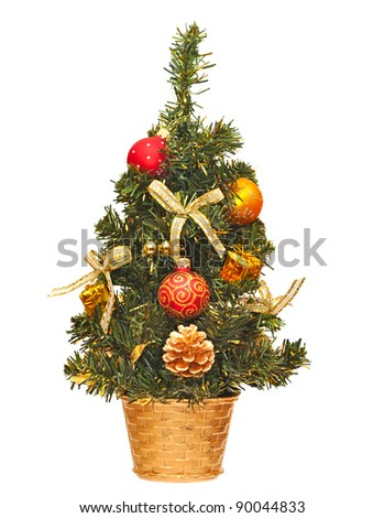 christmas tree with gift and  ball over white background - stock photo