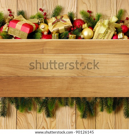 christmas tree with gift and decoration - stock photo