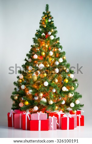 Christmas tree with gift boxes