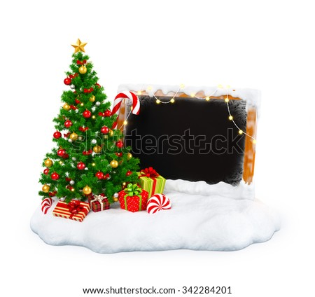 Christmas tree with gift boxes, candies and empty blackboard on snowdrift at white  background. Unusual christmas illustration - stock photo