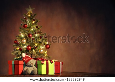 Christmas Tree with Gifts,Christmas concept. - stock photo