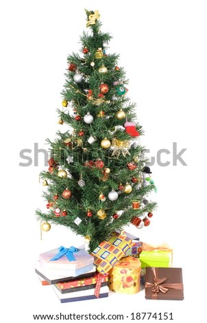 Christmas Tree with gifts on white background .