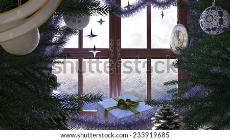 Christmas tree with gifts,window and clock concept composition - stock photo