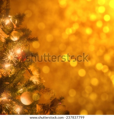Christmas tree with golden bokeh - stock photo