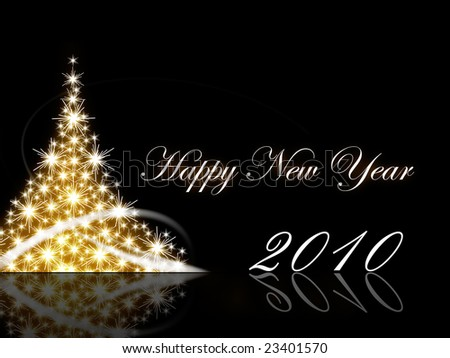 Christmas tree with Happy New Year greetings - stock photo