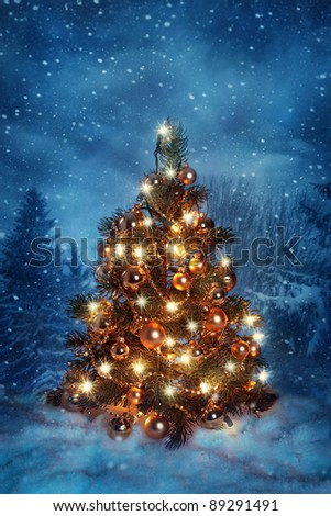 Christmas tree with lights in winter - stock photo