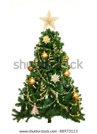 Christmas tree with ornaments. Isolated on white background. - stock photo