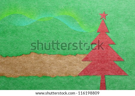 Christmas tree with paper texture - stock photo