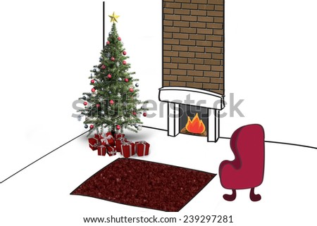 Christmas tree with presents against living room sketch - stock photo