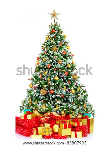 Christmas tree with presents. Over white background - stock photo